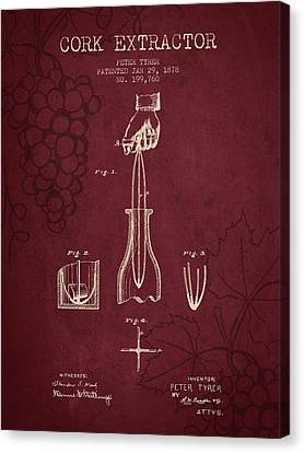 1878 Cork Extractor Patent - Red Wine Canvas Print by Aged Pixel