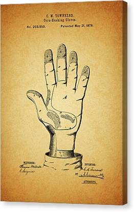 Farm Fields Canvas Print - 1878 Corn Husking Glove Patent by Dan Sproul