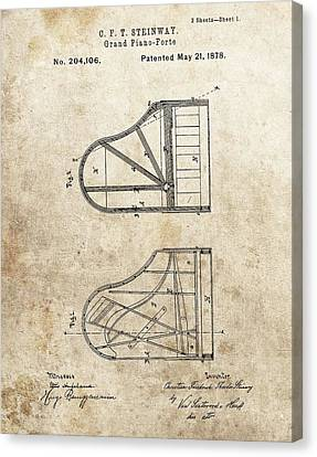 Classical Music Canvas Print - 1878 Steinway Grand Piano Patent by Dan Sproul
