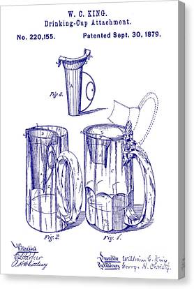 Stein Canvas Print - 1879 Beer Mug Patent Blueprint by Jon Neidert