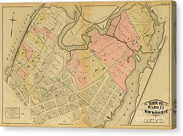 Canvas Print featuring the photograph 1879 Inwood Map  by Cole Thompson