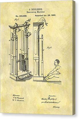 Nike Canvas Print - 1880 Exercising Machine Patent by Dan Sproul
