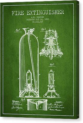 1880 Fire Extinguisher Patent - Green Canvas Print