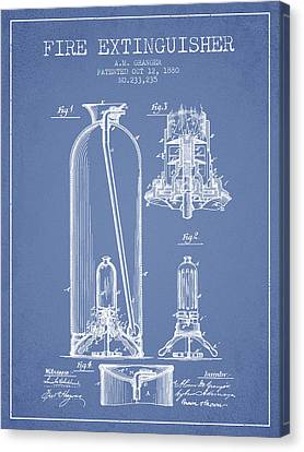 1880 Fire Extinguisher Patent - Light Blue Canvas Print