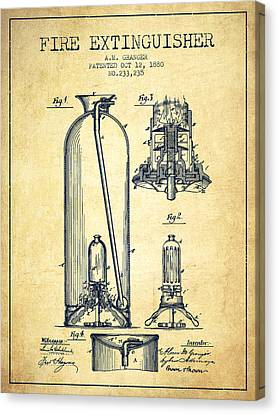1880 Fire Extinguisher Patent - Vintage Canvas Print by Aged Pixel