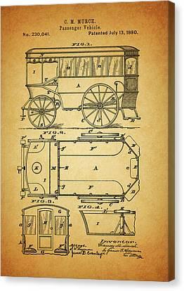 1880 Passenger Wagon Patent Canvas Print