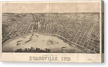 1880 Vintage Evansville Map Canvas Print by Dan Sproul