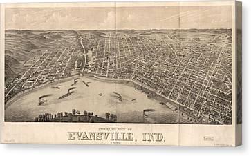 1880 Vintage Evansville Map Canvas Print