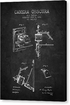 1881 Camera Obscura Patent - Charcoal - Nb Canvas Print by Aged Pixel