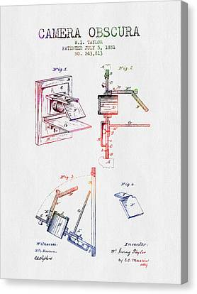1881 Camera Obscura Patent - Color Canvas Print by Aged Pixel