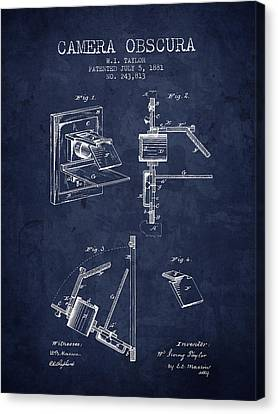 1881 Camera Obscura Patent - Navy Blue - Nb Canvas Print