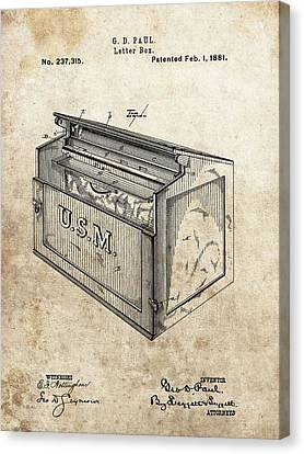 1881 Mailbox Patent Canvas Print by Dan Sproul