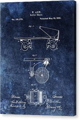 Rollerskate Canvas Print - 1881 Roller Skates Patent by Dan Sproul