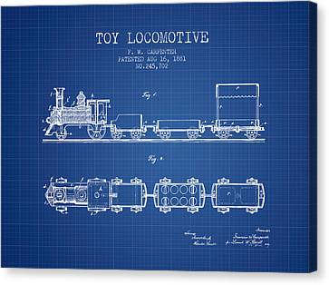 Vintage Trains Canvas Print - 1881 Toy Locomotive Patent - Blueprint by Aged Pixel
