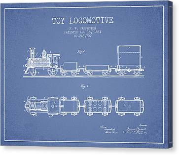 Vintage Trains Canvas Print - 1881 Toy Locomotive Patent - Light Blue by Aged Pixel