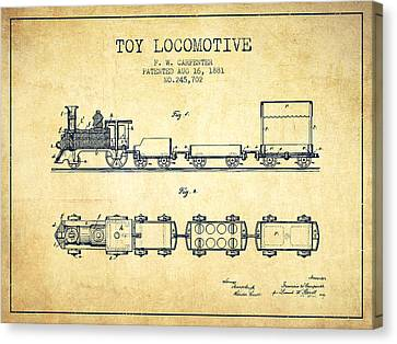 Vintage Trains Canvas Print - 1881 Toy Locomotive Patent - Vintage by Aged Pixel