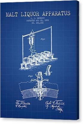 1882 Malt Liquor Apparatus Patent - Blueprint Canvas Print by Aged Pixel