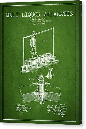 1882 Malt Liquor Apparatus Patent - Green Canvas Print by Aged Pixel