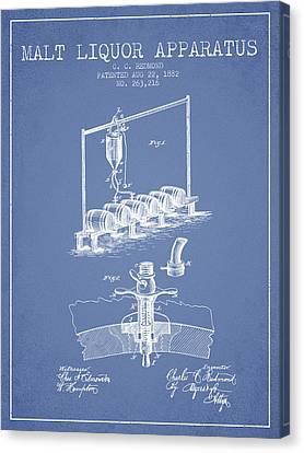 1882 Malt Liquor Apparatus Patent - Light Blue Canvas Print by Aged Pixel