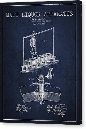1882 Malt Liquor Apparatus Patent - Navy Blue Canvas Print by Aged Pixel
