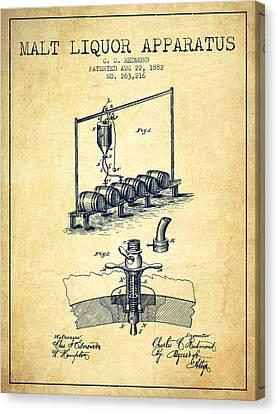 1882 Malt Liquor Apparatus Patent - Vintage Canvas Print by Aged Pixel