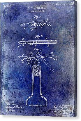 Winery Canvas Print - 1883 Corkscrew Patent Blue by Jon Neidert