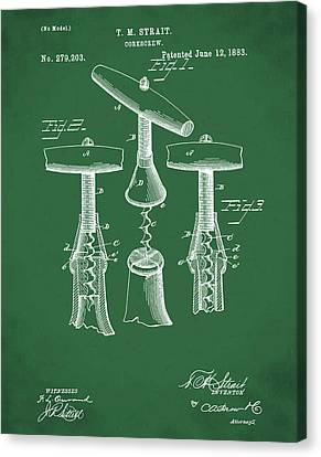 1883 Corkscrew Patent In Green Canvas Print by Bill Cannon