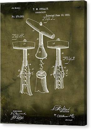 1883 Corkscrew Patent In Grunge Canvas Print by Bill Cannon