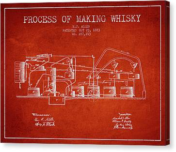 1883 Process Of Making Whisky Patent Fb76_vr Canvas Print by Aged Pixel