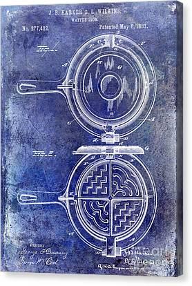 1883 Waffle Iron Patent Blue Canvas Print by Jon Neidert
