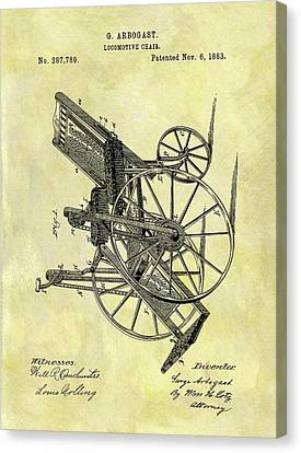 1883 Wheelchair Patent Canvas Print by Dan Sproul