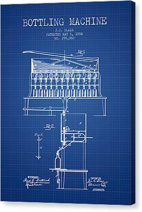 1884 Bottling Machine Patent - Blueprint Canvas Print by Aged Pixel