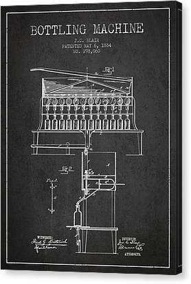 1884 Bottling Machine Patent - Charcoal Canvas Print
