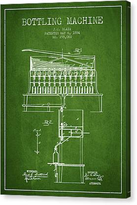 1884 Bottling Machine Patent - Green Canvas Print by Aged Pixel