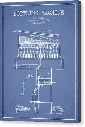 1884 Bottling Machine Patent - Light Blue Canvas Print by Aged Pixel