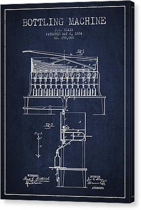 1884 Bottling Machine Patent - Navy Blue Canvas Print by Aged Pixel