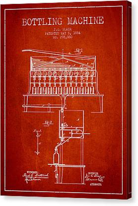 1884 Bottling Machine Patent - Red Canvas Print by Aged Pixel
