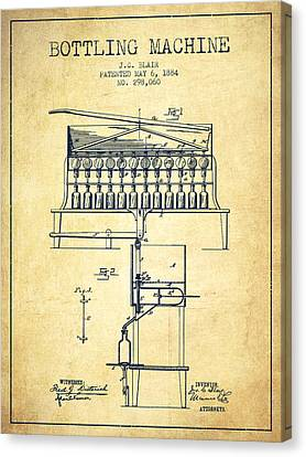 1884 Bottling Machine Patent - Vintage Canvas Print by Aged Pixel