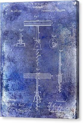 Wine Canvas Print - 1884 Corkscrew Patent Blue by Jon Neidert