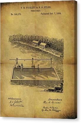 Water Vessels Canvas Print - 1884 Ferry Boat Patent by Dan Sproul