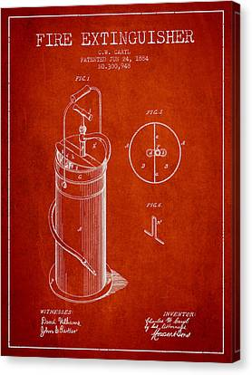 1884 Fire Extinguisher Patent - Red Canvas Print by Aged Pixel