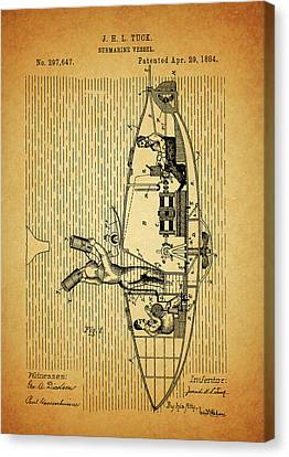 1884 Submarine Ship Patent Canvas Print by Dan Sproul