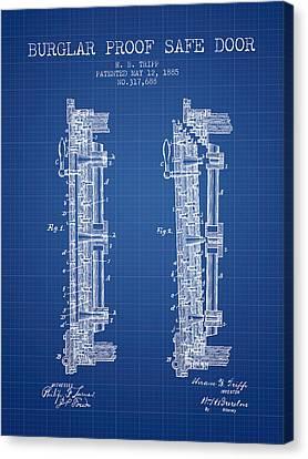 1885 Bank Safe Door Patent - Blueprint Canvas Print by Aged Pixel