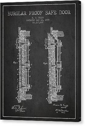 1885 Bank Safe Door Patent - Charcoal Canvas Print by Aged Pixel