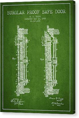 1885 Bank Safe Door Patent - Green Canvas Print by Aged Pixel