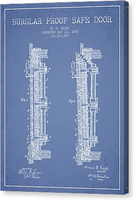 1885 Bank Safe Door Patent - Light Blue Canvas Print by Aged Pixel