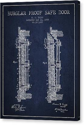 1885 Bank Safe Door Patent - Navy Blue Canvas Print by Aged Pixel