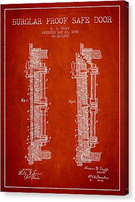 1885 Bank Safe Door Patent - Red Canvas Print by Aged Pixel