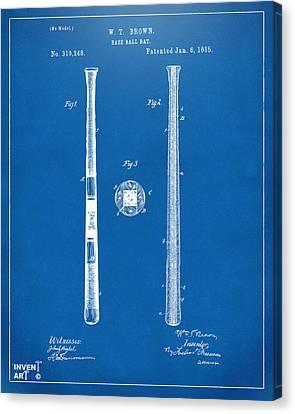 1885 Baseball Bat Patent Artwork - Blueprint Canvas Print by Nikki Marie Smith