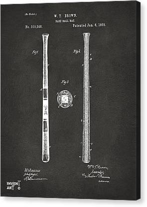 1885 Baseball Bat Patent Artwork - Gray Canvas Print by Nikki Marie Smith